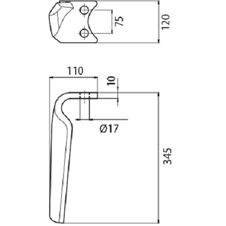 Coltello per erpice - Compatibile con AMAZONE - TRAT5073