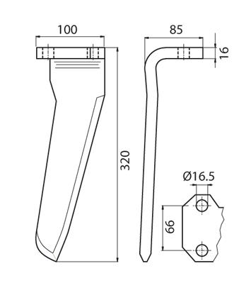 Coltello per erpice - Compatibile con AGRAM - TRAT4527