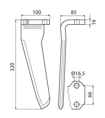 Coltello per erpice - Compatibile con AGRAM - TRAT4528