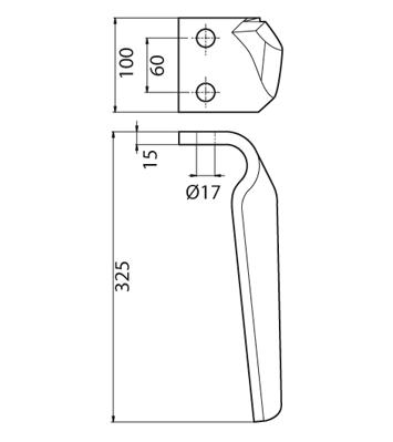 Coltello per erpice - Compatibile con ALPEGO - TRAT4534