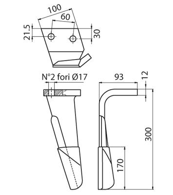 Coltello per erpice - Compatibile con ALPEGO - TRAT4536