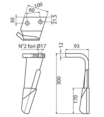 Coltello per erpice - Compatibile con ALPEGO - TRAT4537