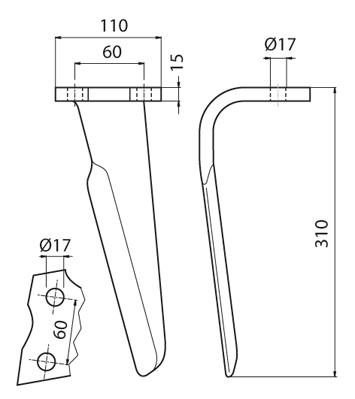 Coltello per erpice - Compatibile con ALPEGO - TRAT4539