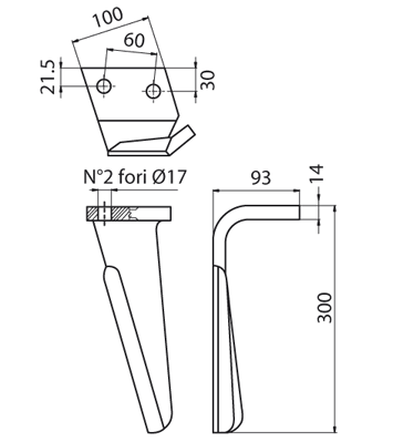 Coltello per erpice - Compatibile con ALPEGO - TRAT4543