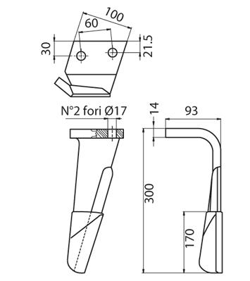 Coltello per erpice - Compatibile con ALPEGO - TRAT4545