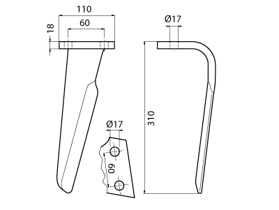 Coltello per erpice - Compatibile con ALPEGO - TRAT4548