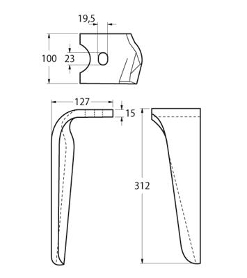 Coltello per erpice - Compatibile con ALPEGO - TRAT4552