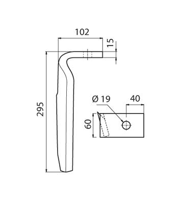 Coltello per erpice - Compatibile con AMAZONE - TRAT4557