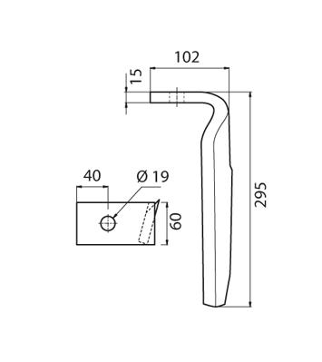 Coltello per erpice - Compatibile con AMAZONE - TRAT4558