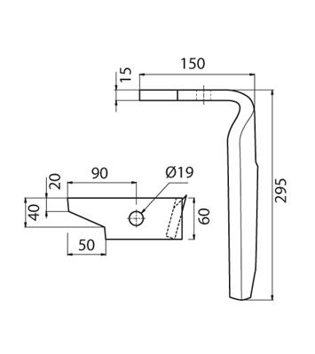 Coltello per erpice - Compatibile con AMAZONE - TRAT4560
