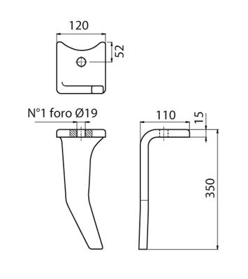 Coltello per erpice - Compatibile con AMAZONE - TRAT4561