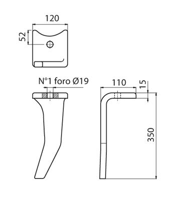 Coltello per erpice - Compatibile con AMAZONE - TRAT4562