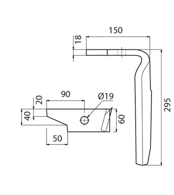 Coltello per erpice - Compatibile con AMAZONE - TRAT4564