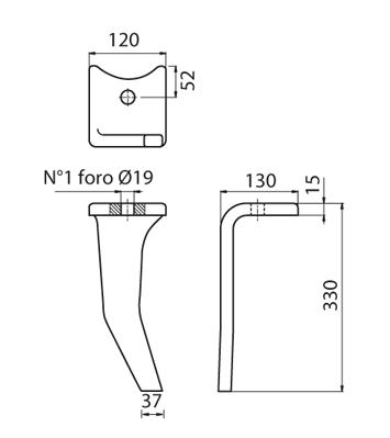 Coltello per erpice - Compatibile con AMAZONE - TRAT4567