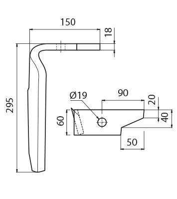 Coltello per erpice - Compatibile con AMAZONE - TRAT4569