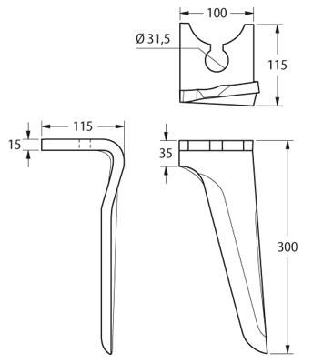 Coltello per erpice - Compatibile con BREVIGLIERI - TRAT4800