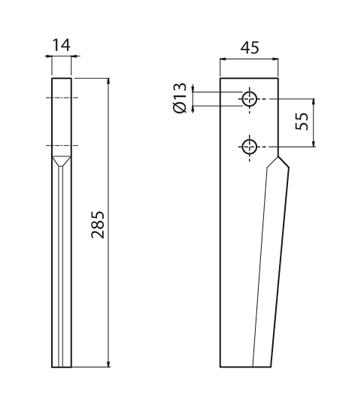 Coltello per erpice - Compatibile con BREVIGLIERI - TRAT5064