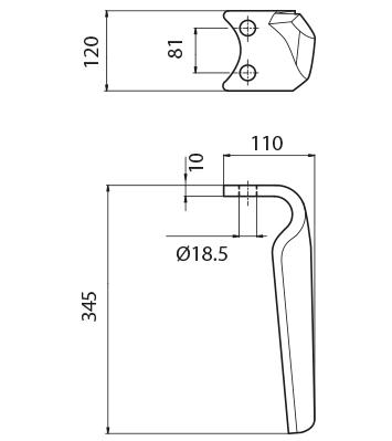 Coltello per erpice - Compatibile con AMAZONE - TRAT5074