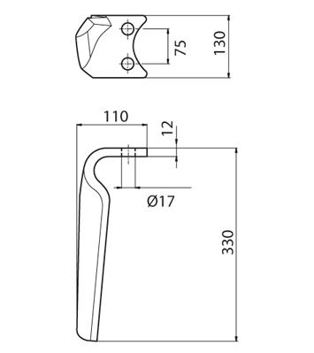 Coltello per erpice - Compatibile con AMAZONE - TRAT5094