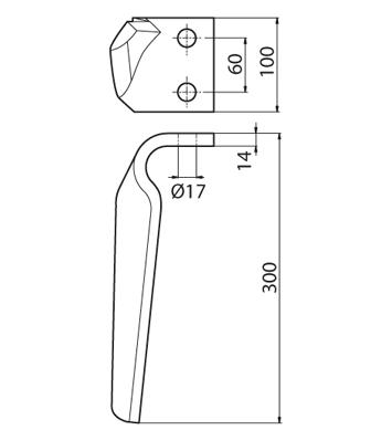 Coltello per erpice - Compatibile con RAU - TRAT5096
