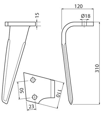 Coltello per erpice - Compatibile con SICMA (OSTRA VETERE) - TRAT5102