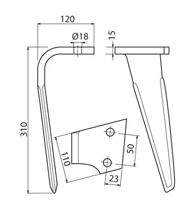 Coltello per erpice - Compatibile con SICMA (OSTRA VETERE) - TRAT5103