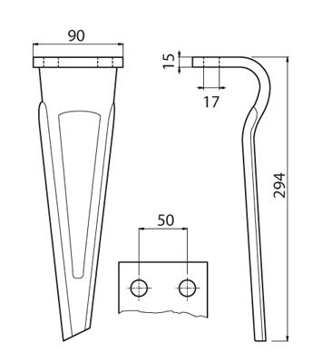 Coltello per erpice - Compatibile con SICMA (OSTRA VETERE) - TRAT5105