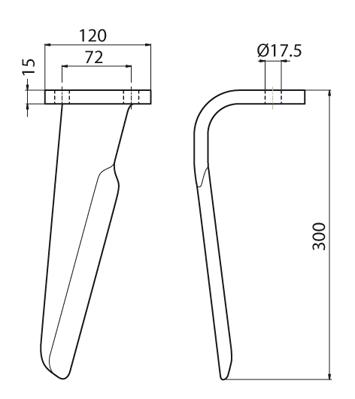Coltello per erpice - Compatibile con CELLI - TRAT5107
