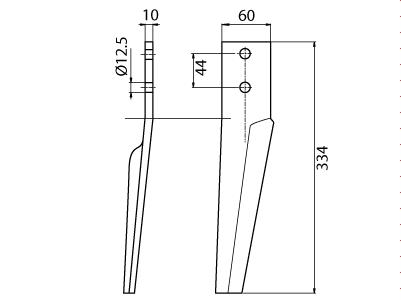 Coltello per erpice - Compatibile con MASCHIO - TRAT5108