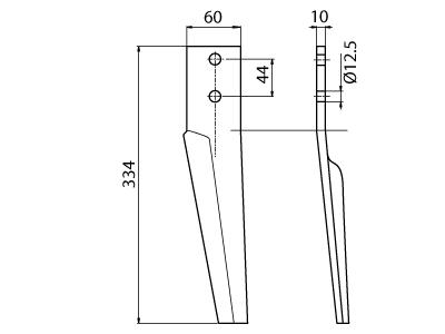 Coltello per erpice - Compatibile con MASCHIO - TRAT5109