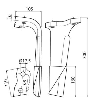 Coltello per erpice - Compatibile con KUHN - TRAT5120