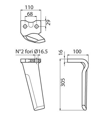 Coltello per erpice - Compatibile con AGROMEC - TRAT5122