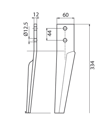 Coltello per erpice - Compatibile con FALC - TRAT5128