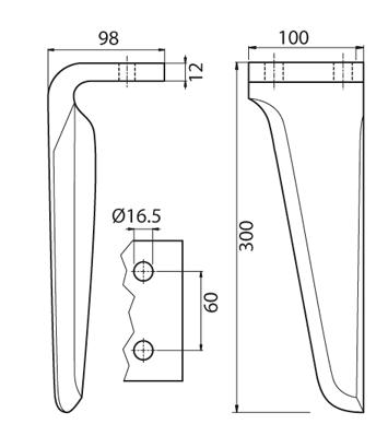 Coltello per erpice - Compatibile con AGROMEC - TRAT5141