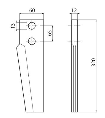 Coltello per erpice - Compatibile con PERUGINI CONCEPT - TRAT5151