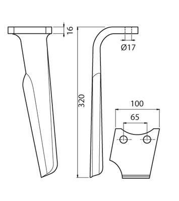 Coltello per erpice - Compatibile con PERUGINI CONCEPT RABEWERK - TRAT5159