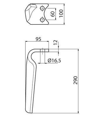 Coltello per erpice - Compatibile con MORRA|PEGORARO | FORT PEGORARO - TRAT5169