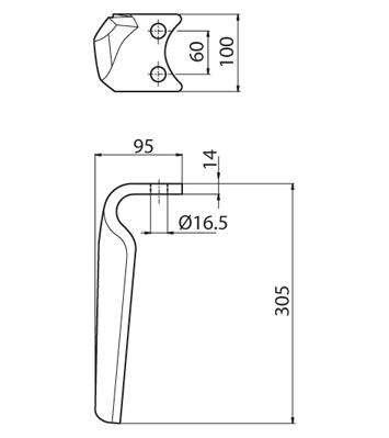 Coltello per erpice - Compatibile con PEGORARO | FORT PEGORARO - TRAT5171