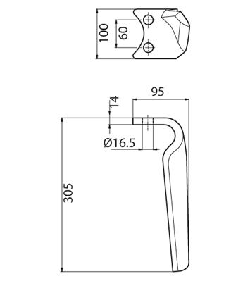 Coltello per erpice - Compatibile con MORRA PEGORARO   FORT PEGORARO - TRAT5172