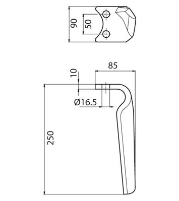 Coltello per erpice - Compatibile con PEGORARO | FORT PEGORARO - TRAT5174