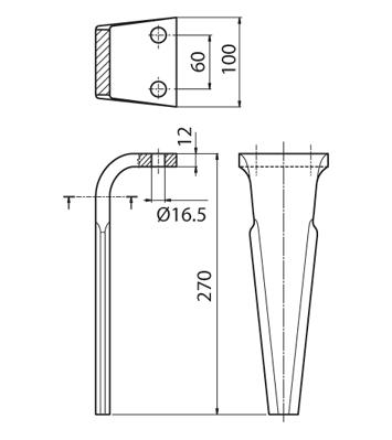 Coltello per erpice - Compatibile con FERABOLI - TRAT5182