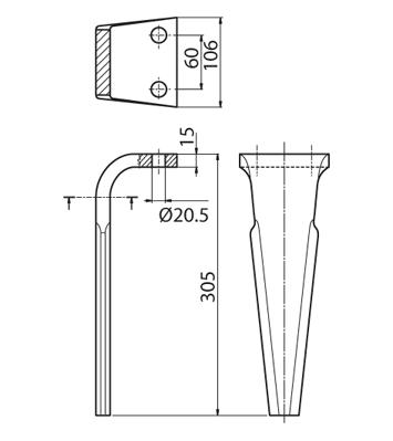 Coltello per erpice - Compatibile con FERABOLI - TRAT5183