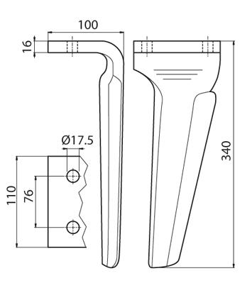 Coltello per erpice - Compatibile con DOWDESWELL - TRAT5233