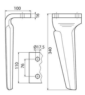 Coltello per erpice - Compatibile con DOWDESWELL - TRAT5234