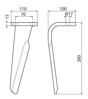 Coltello per erpice - Compatibile con FALC - TRAT5375