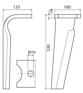 Coltello per erpice - Compatibile con FALC - TRAT5390