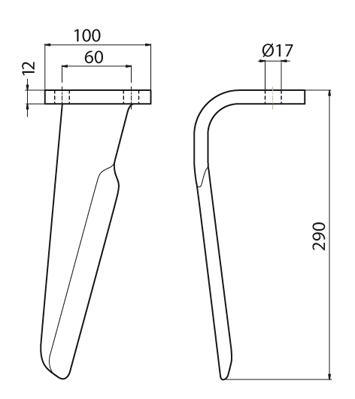 Coltello per erpice - Compatibile con FERABOLI - TRAT5520