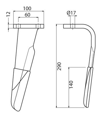 Coltello per erpice - Compatibile con FERABOLI - TRAT5521