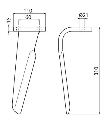 Coltello per erpice - Compatibile con FERABOLI - TRAT5524