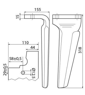 Coltello per erpice - Compatibile con FERABOLI - TRAT5528